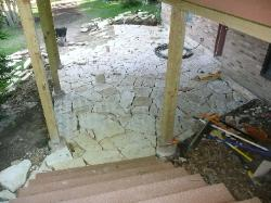 Missouri ozark tan patio stone below deck