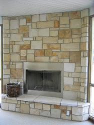 Natural Stone Fireplace - Buff Tan White Natural Stone Veneer