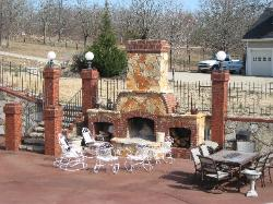 ozark natural stone hearth, brick accents - ellsinore MO