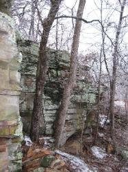 Missouri sandstone bluff near our stone quarry.
