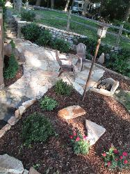 Florissant, MO flagstone path, patio, and retaining wall