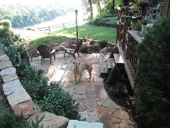 dog on ozark sandstone patio overlooking Missouri River