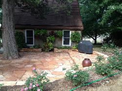 Ozark Natural stone patio and short wall in Peoria, Illinois