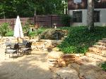 Retaining Wall, Waterfall, and Flagstone Steps, Desoto, MO