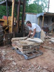 Stones of all sizes (flags, steppers, and small filler) are used when stacking to ensure the promised square footage.