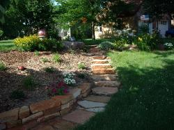 Dry Wall Retaining Wall Stone - Flagstone Path and Steps - Peoria, IL