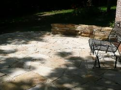 Missouri patio stone with short mortared wall.