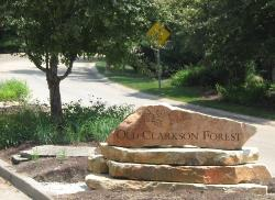subdivision entrance monument - ozark stone on 3 sandstone slabs