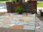 white ozark natural stone - sandstone patio with brick wall accent